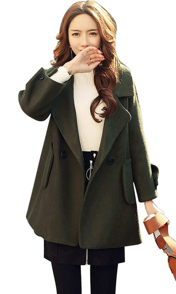 IDEALSANXUN Women's Korean Style Plus Size Long Sleeve Woolen Cloak Coat with Pocket (Large, 1-Army green)
