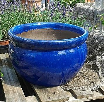 Steingut Keramik blumentopf 43 cm durchmessser blau glasierte keramik steingut