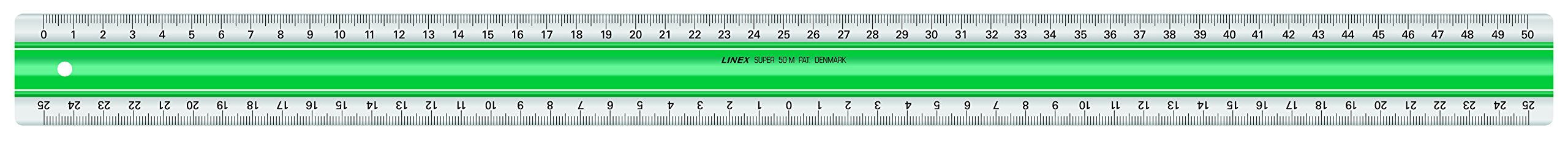 Linex 100202518 S50MM Series Super Acrylic Ruler Scale 25-0 MM 25 cm with Patented Slip Protection, Transparent