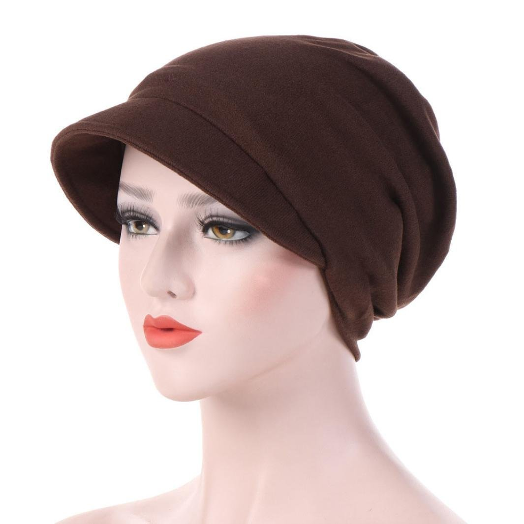 Women's Turban Chemo Hats Hexagon Head Cap Solid Color Warm Windproof Cap Coffee