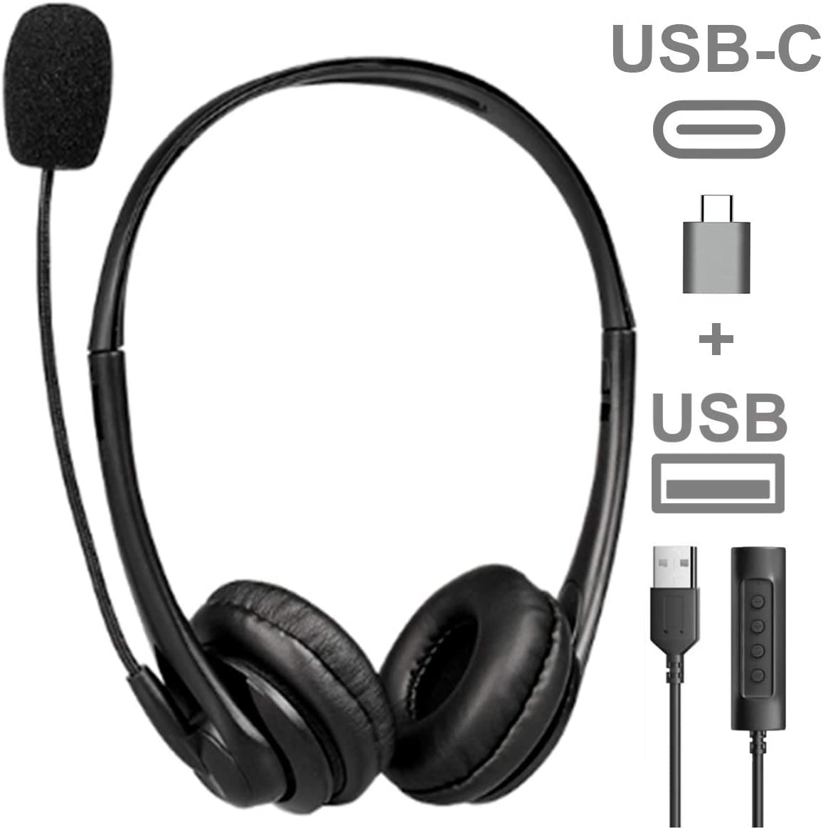 Headphones with Microphone USB and USB C Connection to Any Computer, Laptop, Mac, PC. Noise Cancelling Boom Mic for Zoom, Skype, Video Conference Headset