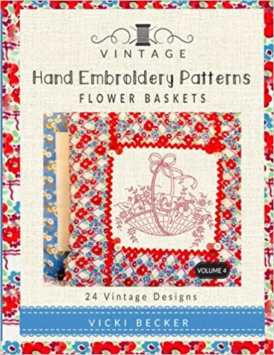 Vintage Hand Embroidery Patterns Flower Baskets 24 Authentic