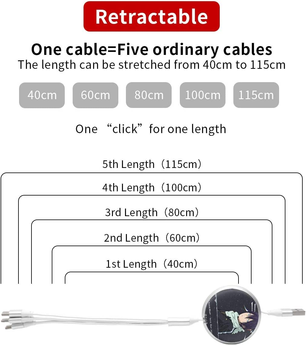 Aluminum Alloy Shell Pc Surface N//C Noragami Anime Round Three-in-One Charging Cable TPE Cable