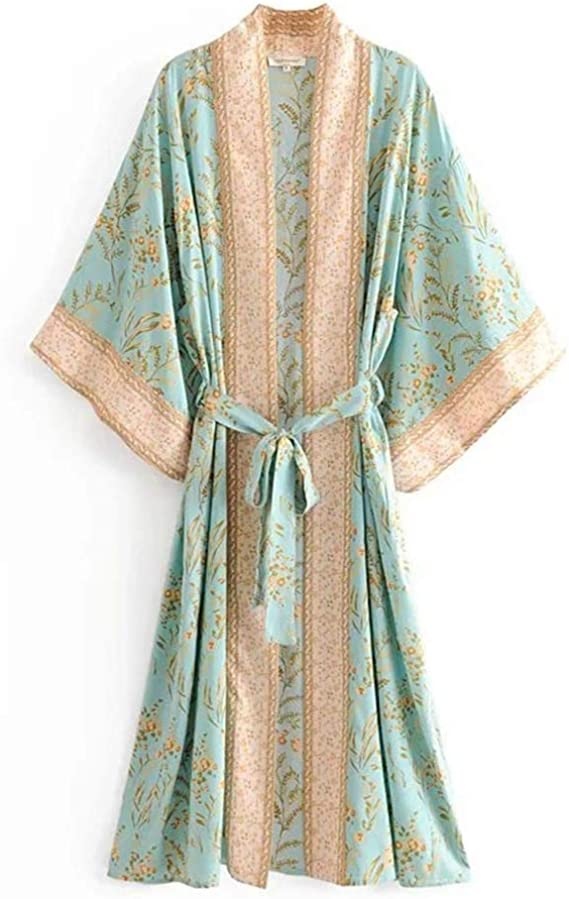 Seamido Womens Kimono Dressing Gown Beach Cardigan Long Kimono Robe Silk Satin Nightwear Pyjamas Bathrobe