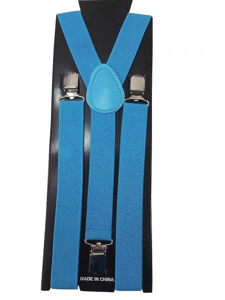 JTC Mens//womens Elastic Solid Suspenders Adjustable Y Belt Blue