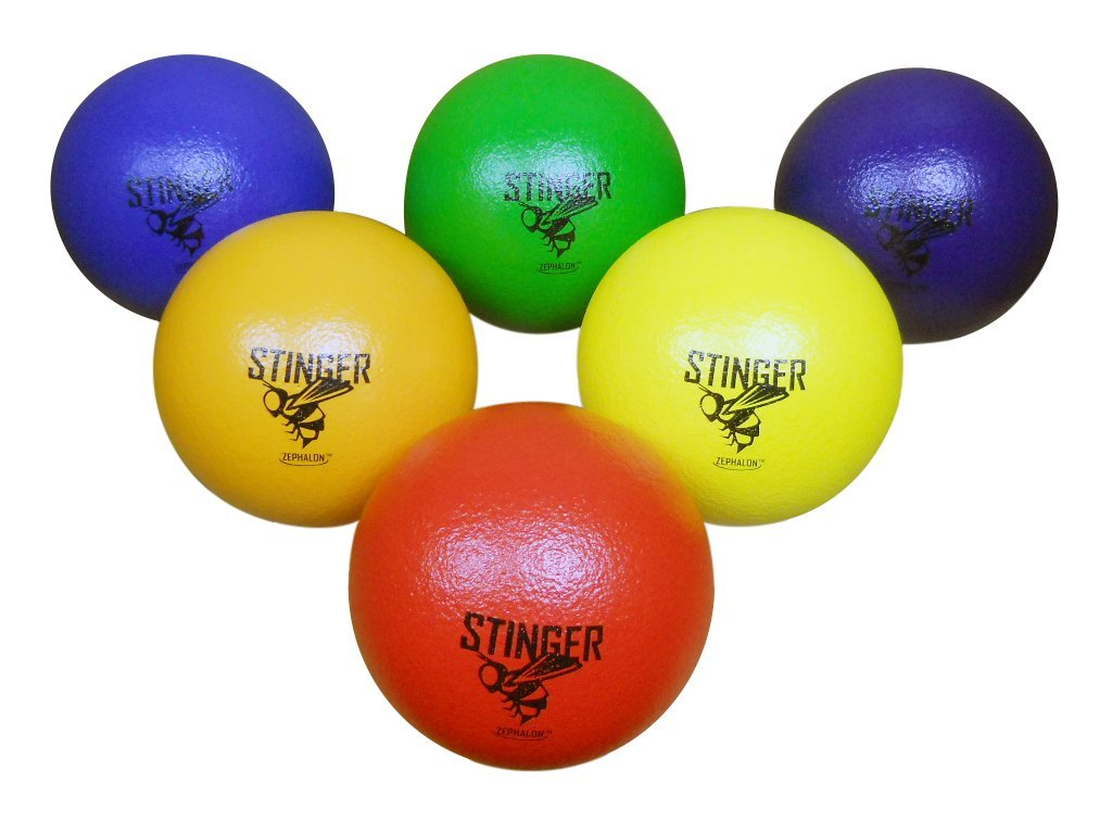 GSM Brands Dodgeballs - Foam, Soft Skin, Low Bounce, 6'' - Set of 6 Dodge Balls Kids Adults by GSM Brands