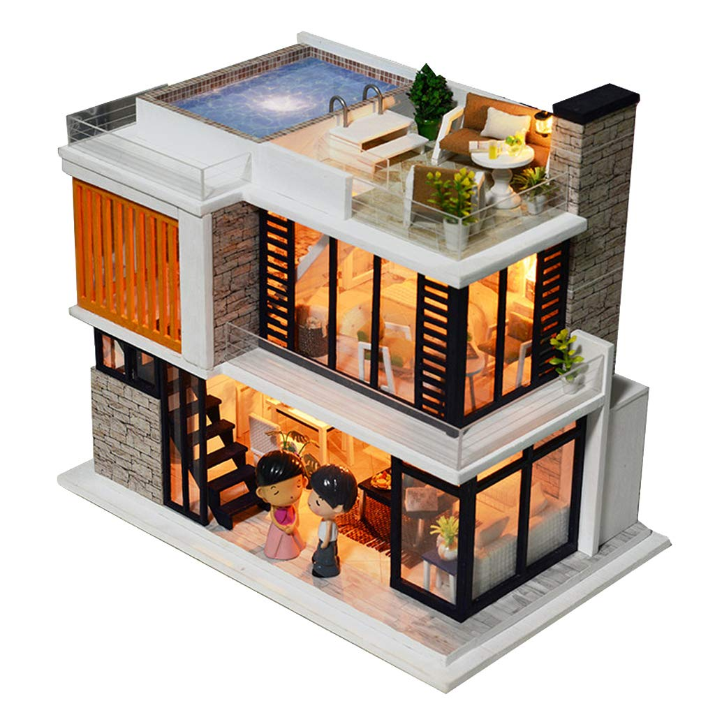 Amazon com fenteer 124 scale diy handcraft miniature project kit wooden dolls house model florence modern house home display collectibles toys games