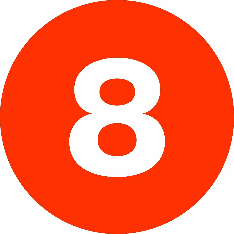 Legend8 Orange 1 Diameter Tape Logic Number Circle Label Roll of 500 DL6758