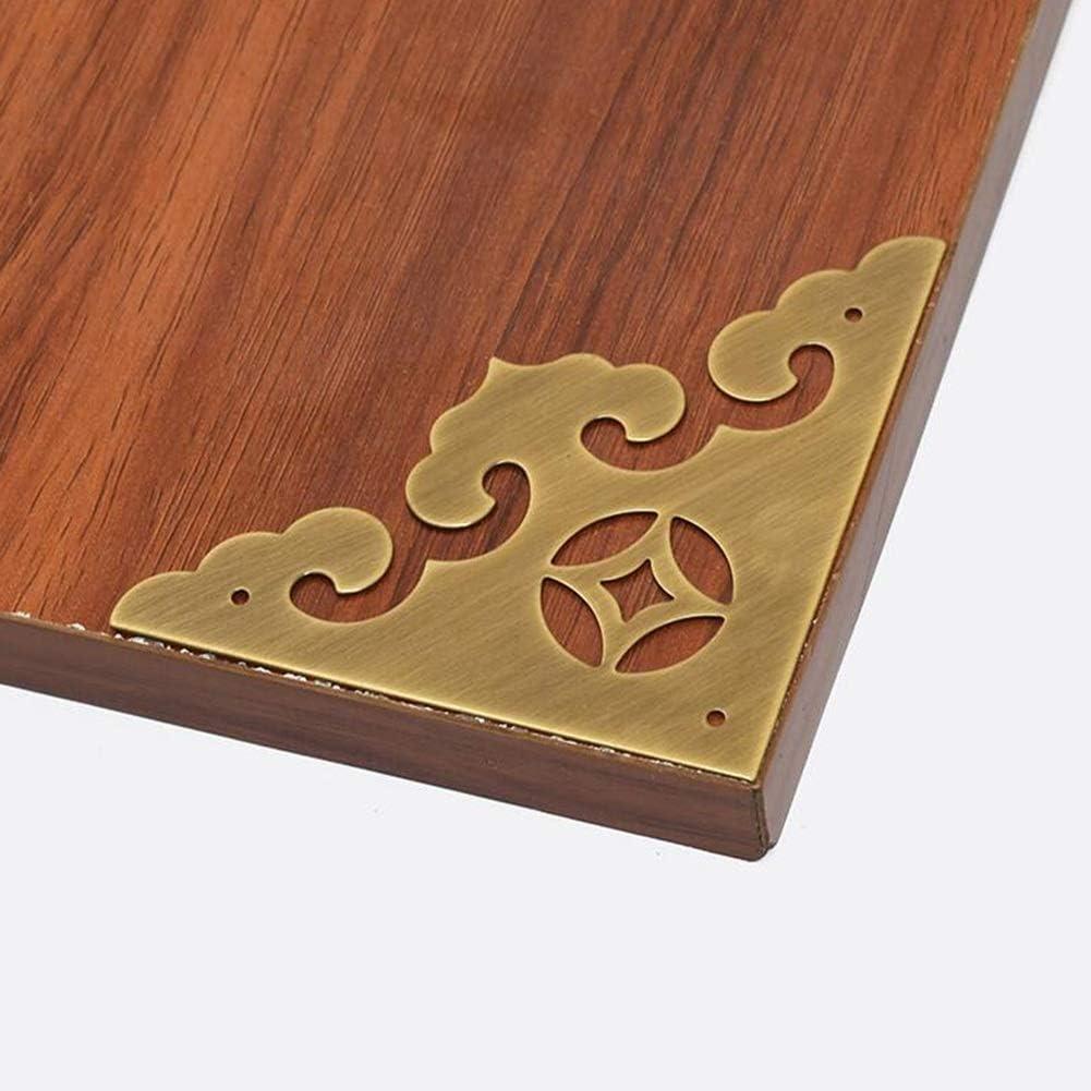 MUMA 4Pcs Vintage Pure Copper Decorative Corner Protector Classical Furniture Cabinet Cupboard Door Embossing Corner Guard Color : Brass
