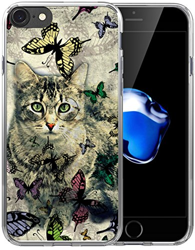 8 Case Cat/7 Cover Design/IWONE Designer Non Slip Rubber Durable Protective Replacement Skin Transparent Cover Shockproof Compatible with iPhone 7/8 Cat Butterfly Animal