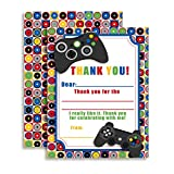 Game On Video Gamer Themed Thank You Notes for Kids, Ten 4'' x 5.5'' Fill in the Blank Cards with 10 White Envelopes by AmandaCreation
