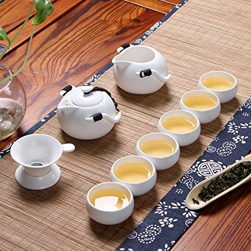 XDOBO Imported Vintage Chinese  Japanese Style Porcelain Handmade Kung Fu Tea Set, 10-pack (White)