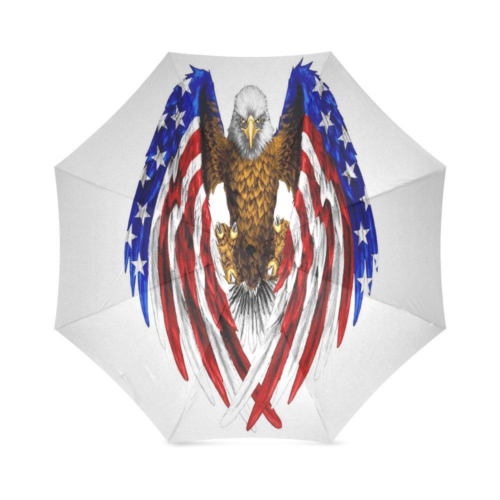カスタムアメリカ国旗とイーグルコンパクト旅行防風防雨折りたたみ式傘 B075WDJDTL