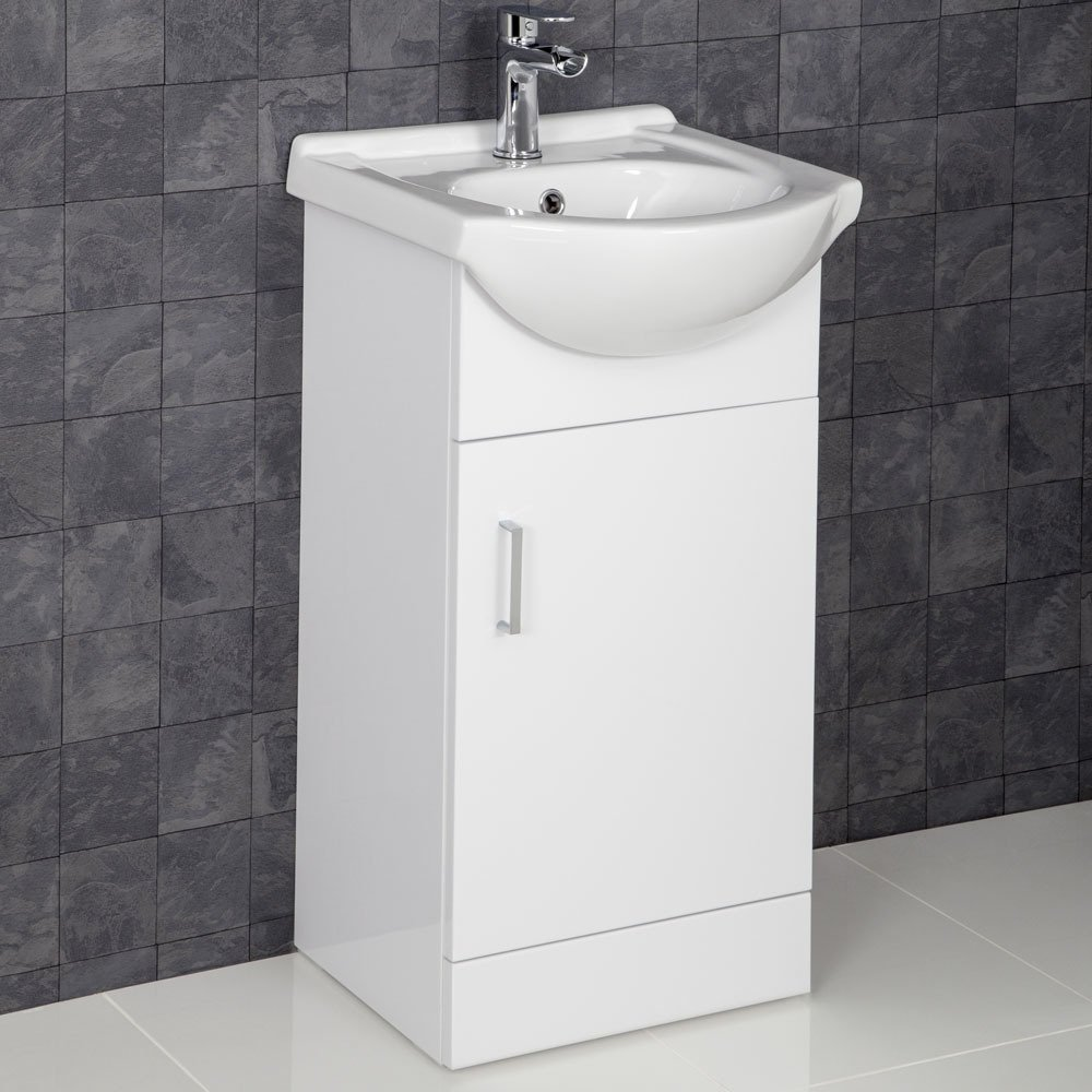 Essentials 450mm Bathroom Vanity Unit & Basin Sink Floorstanding Gloss White Tap and Waste