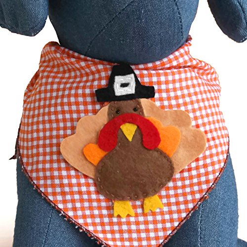 Tail Trends Thanksgiving Turkey Dog Bandana with Designer Applique 100% Cotton (Medium)