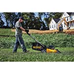 Dewalt 20v max lawn mower, 3-in-1, 2 batteries (dcmw220p2) 21 push mower comes with powerful brushless motor and (2) 20v max* batteries working simultaneously for high power output. 3-in-1 push lawn mower for mulching, bagging and side discharging battery lawn mower has heavy-duty 20-inch metal deck