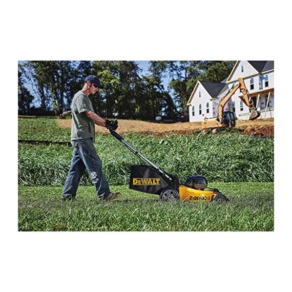 Dewalt 20v max lawn mower, 3-in-1, 2 batteries (dcmw220p2) 5 push mower comes with powerful brushless motor and (2) 20v max* batteries working simultaneously for high power output. 3-in-1 push lawn mower for mulching, bagging and side discharging battery lawn mower has heavy-duty 20-inch metal deck