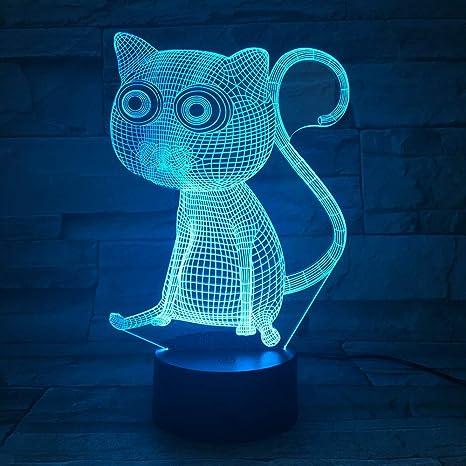 KangYD Cute Cat 3D Visual Night Light, Colorido, Acrílico ...