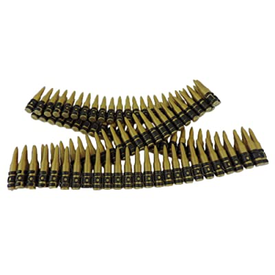 Plastic Toy Fake Bullet Belt Army Solider Rifle Sash Approx 98 Bullets Black, Gold: Clothing