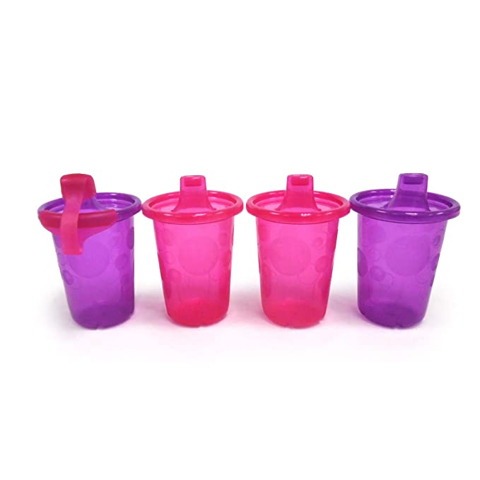 The First Years Take & Toss Straw Cups 10 Ounce - 4 Pack -Pink/Purple, Multi