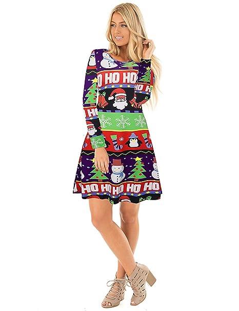 Ruiyige Vestido de Fiesta de Navidad Vestido Casual de la Mujer del árbol de Nieve Vestido