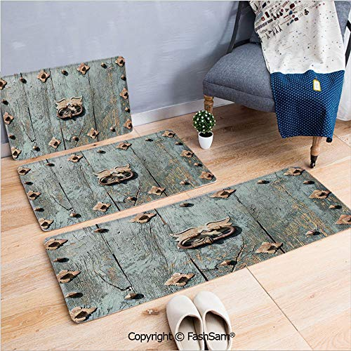 3 Piece Flannel Bath Carpet Non Slip European Cathedral with Rusty Old Door Knocker Gothic Medieval Times Spanish Style Decorative Front Door Mats Rugs for Home(W15.7xL23.6 by W19.6xL31.5 by W19.6xL59