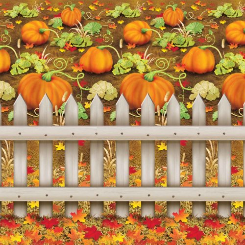 Beistle 1-Pack Decorative Pumpkin Patch Backdrop, 4-Feet by 30-Feet ()