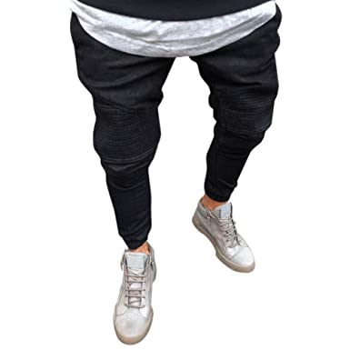 23a9f2c257 AMSKY❤ Men Denim Jeans, Fashion Stretchy Slim Fit Causal Basic Long ...