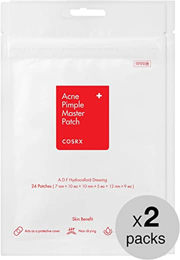 COSRX Acne Pimple Master Patch 48 Patches (2 Packs of 24 Patches) | A.D.F. Hydrocolloid Dressing | Quick & Easy Treatment