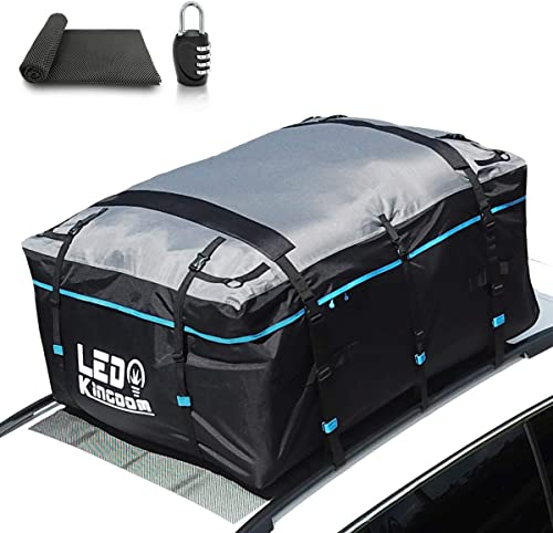 LED Kingdomus Rooftop Cargo Bag, Waterproof 19cft Truck Pickup Cargo Carrier,600D with PVC Coating Roof Top Bag for All Cars with/Without Rack, Includes Straps/Hooks/Protective Mat/Lock