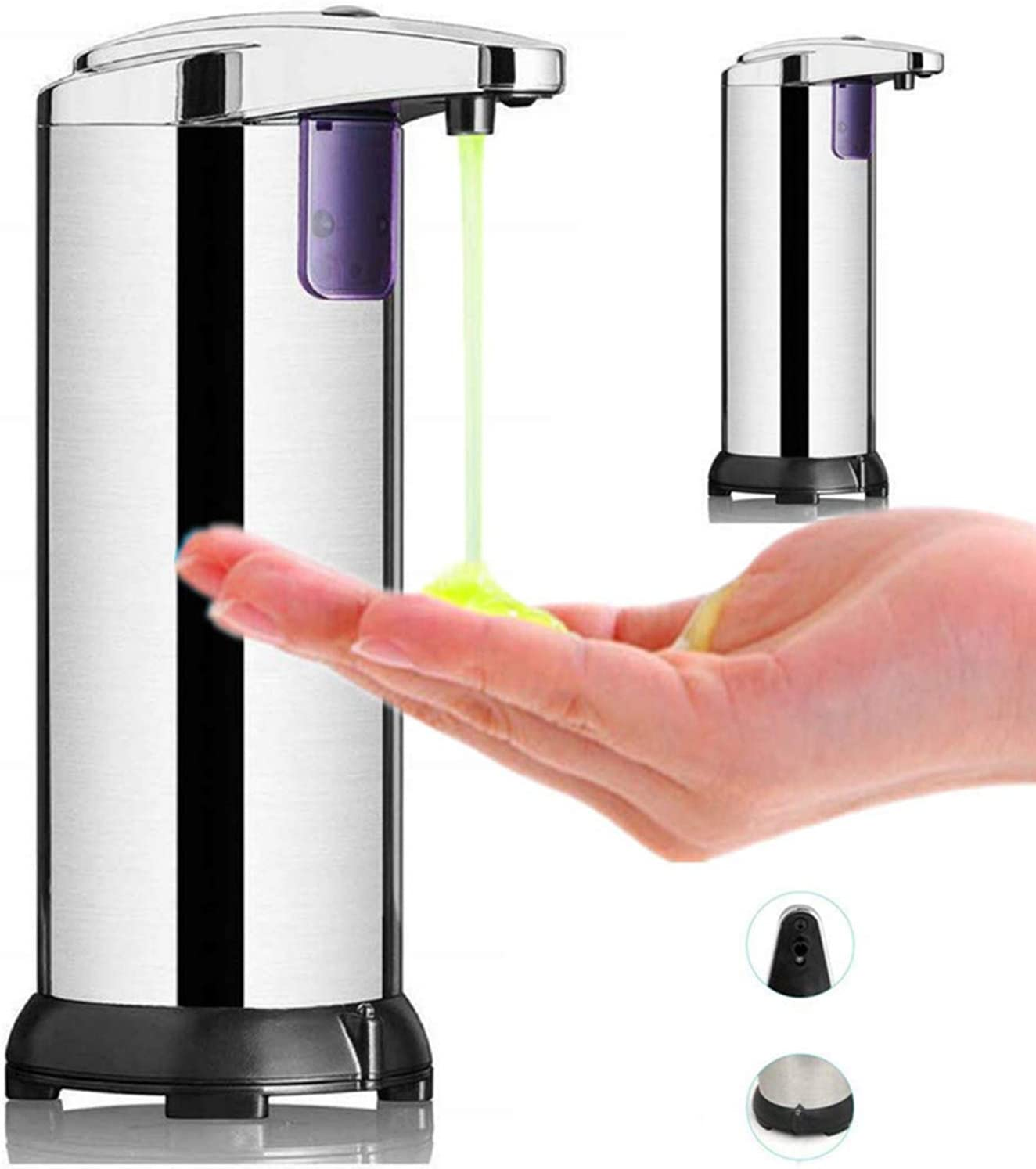 HJ Dispensador de Jabón Automático de Acero Inoxidable, Sensor de Movimiento por Infrarrojos, Base Impermeable, Interruptor Ajustable, para Baño, Cocinas, Hotel, Jabón Líquido, Champú, Loción, etc.: Amazon.es: Hogar