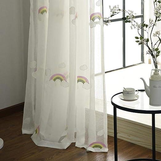 Cortinas Transparentes Con Bordado Nube Blanca Y Arco Iris Sheer ...