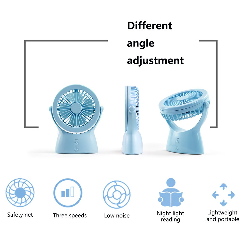 Portable Fan mit Nachtlicht Akku betrieben USB Small Desk Tischventilator f/ür Home Dorm B/üro Laptop Outdoor Travel Leise Personal Hand Bedside Clip Fans-Blau