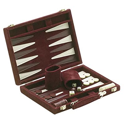 "18"" Recreational Velvet Backgammon Board Game Case, Burgundy: Toys & Games"