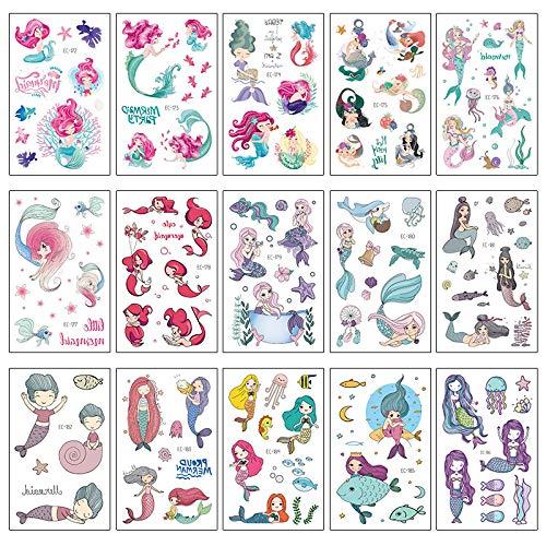 15 Sheets Temporary Tattoo Cartoon Stickers Fake Body Arm Chest Shoulder Tattoos Mermaid