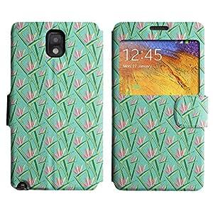 LEOCASE Flores De Color Rosa Con Hojas Funda Carcasa Cuero Tapa Case Para Samsung Galaxy Note 3 N9000 No.1000560