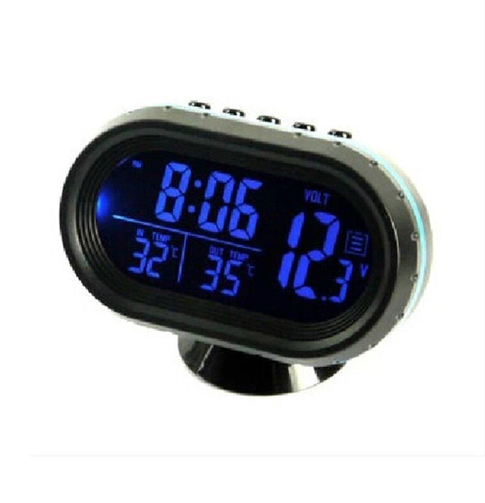 HOTSYSTEM 12-24V horloge + voltmetre + thermomè tre, 2 é crans LCD couleur, testeur de batterie pour allume cigare de voiture bleu + orange 2 écrans LCD couleur