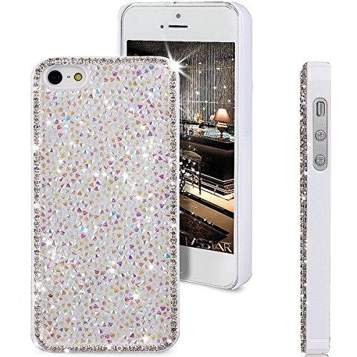 iPhone SE Case,iPhone 5S Case,iPhone 5 Case,ikasus Shiny Sparkle Bling Glitter Crystal [Rhinestone Diamond] Hard PC Plated Full Cover Protective Case for iPhone SE/iPhone 5S 5,Diamond: White