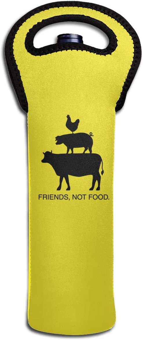 CHAN03 Friends Not Food Red Wine Tote Bag for Travel and Picnic Dating Party