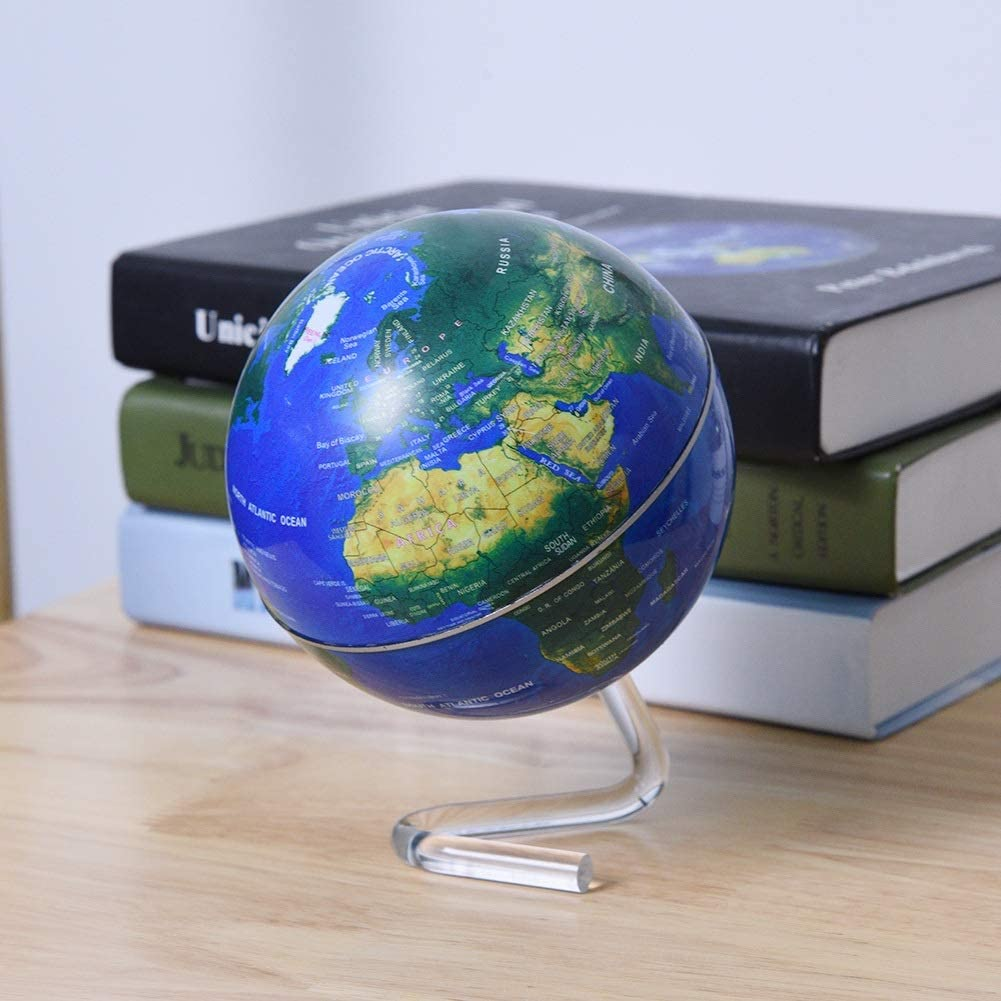 Color : Blue DEWIN Desktop Globe Desktop Rotating World Globe Earth Globe with Stand for Kids and Adults