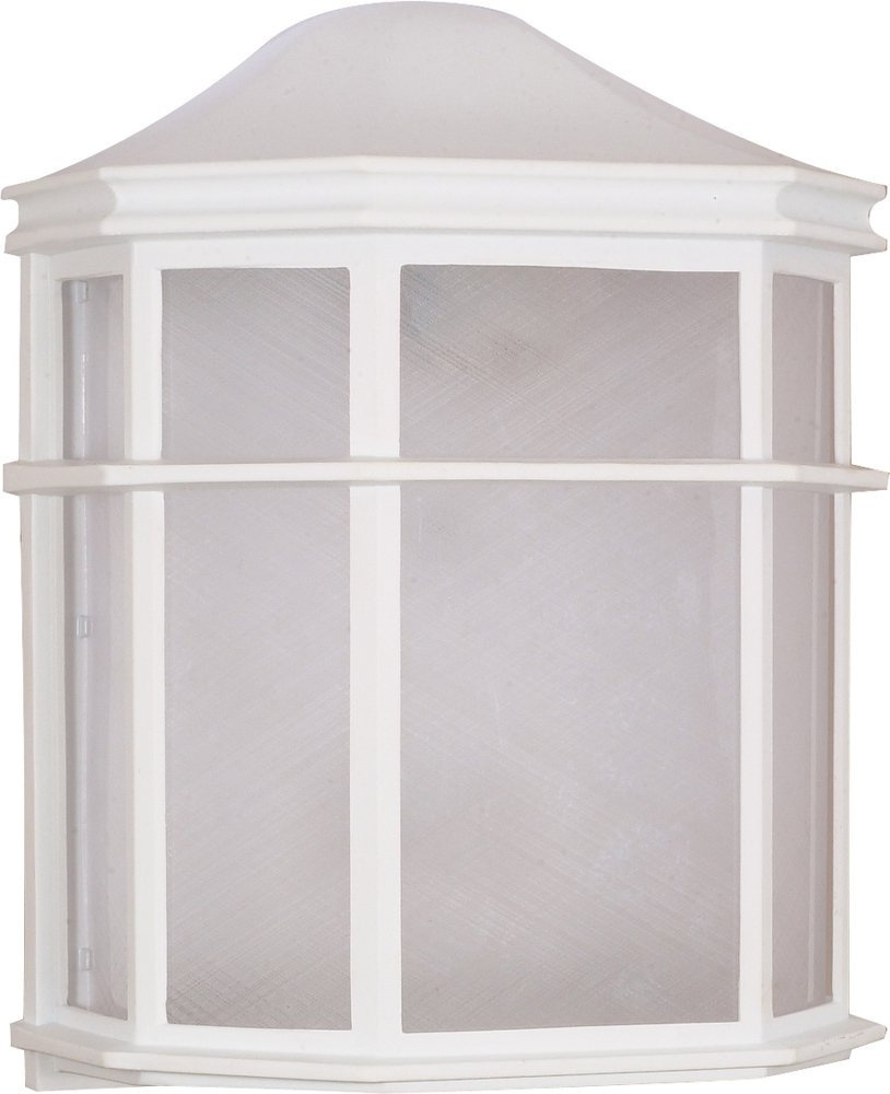 Filament Design 7778073537 1-Light White Outdoor Cage Lantern Wall Fixture with Die Cast Linen Acrylic Lens,
