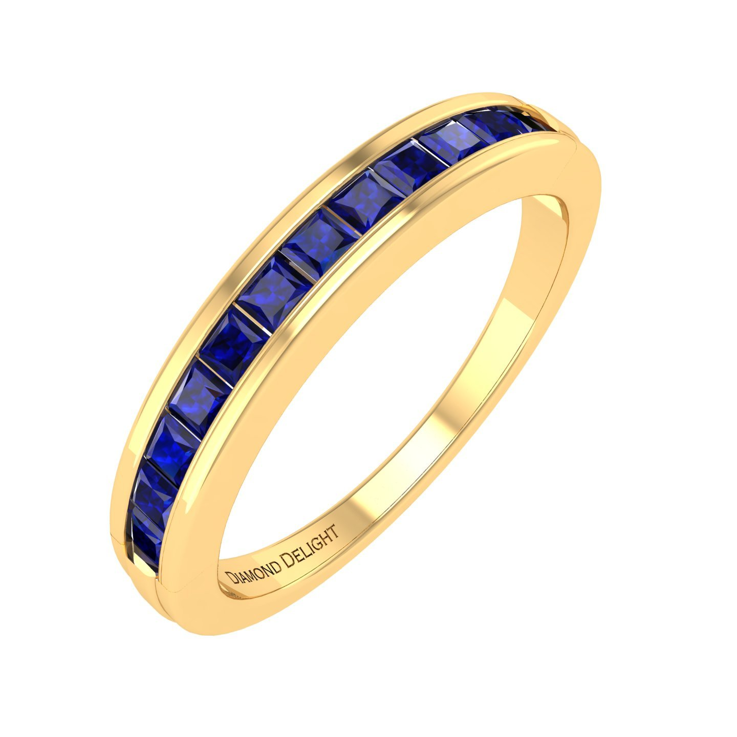 10K Yellow Gold Princess-cut Channel Set Wedding/anniversary Blue Sapphire Band Ring (3/4 Carat) by Diamond Delight