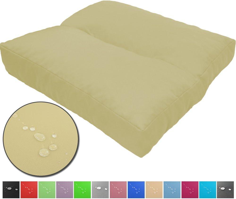 Cojines de asiento LoungeWave para jardín - Cojines outdoor repelentes al agua y acolchados para bancos, sofá en palets u otros asientos de jardín, Color:Crema, Talla:40 x 40 cm