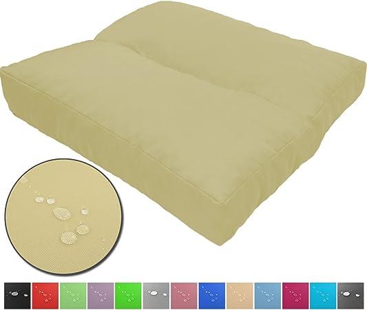 Cojines de asiento LoungeWave para jardín - Cojines outdoor repelentes al agua y acolchados para bancos, sofá en palets u otros asientos de jardín, Color:Crema, Talla:50 x 50 cm: Amazon.es: Hogar