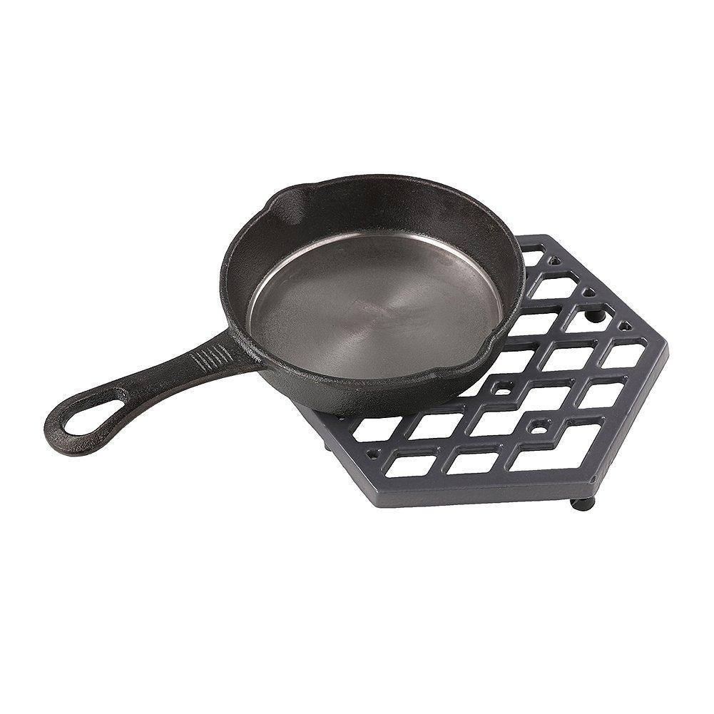 Hexagon Cast Iron Trivets Black Metal Enameled Trivet Mat Hot Dish Pads for Kitchen Table, Hot Dishes, Pots, Pans Dining - Heat Resistant to 1472°F - Kitchen Decor Trivets