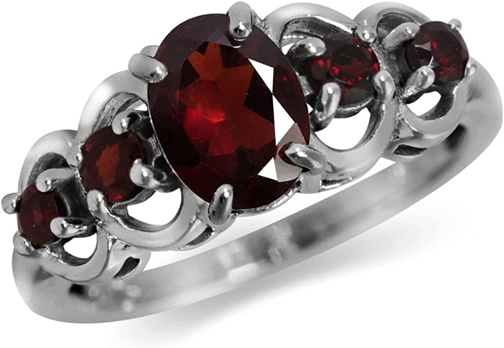 Silvershake 1.86ct. 5 Stone Natural Garnet 925 Sterling Silver Ring