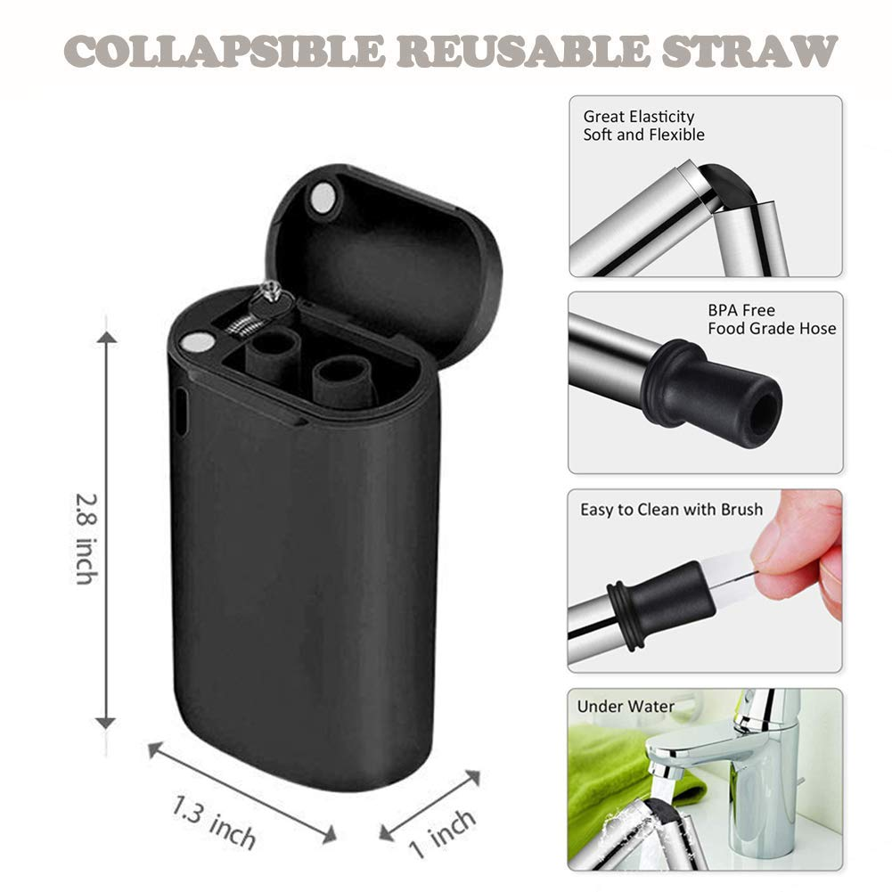 Tegutor 2 Pack Collapsible Reusable Straws, Stainless Steel Folding Drinking Food-Grade Silicone Straw, Portable with Hard Case Holder and Cleaning Brush for Party, Travel, Outdoor, Household, etc
