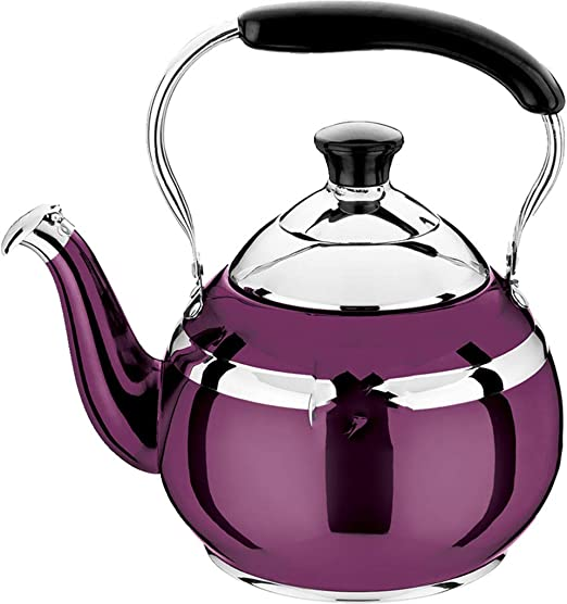 Home Camping,1.5L Large Capacity Whistling Kettle Stainless Steel Gas Kettle Induction Hobs Teapot