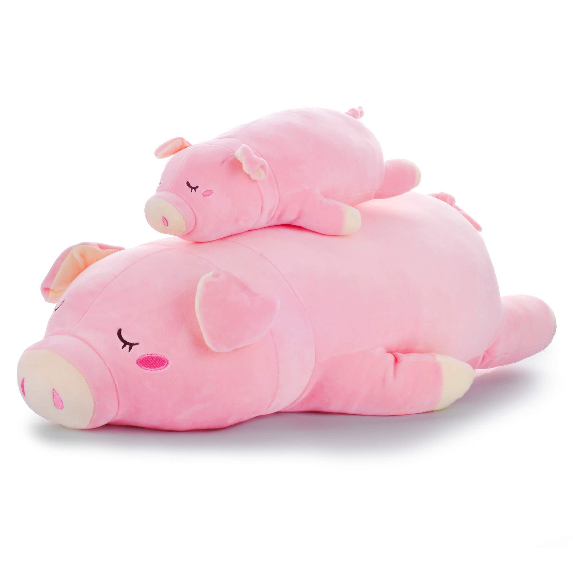 Lazada Plush Pig Stuffed Piggy Super Soft Hugging Pillows for Kids Toys Pink 25''(L)
