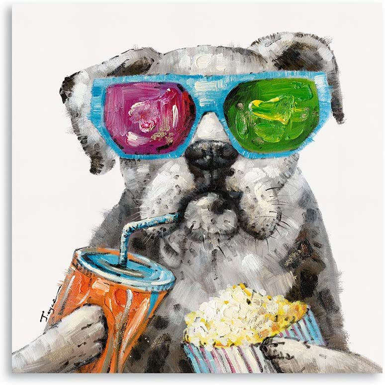 "Amazon.com: B BLINGBLING Dog Paintings Canvas Wall Art: Pug Holding Coca  Cola Popcorn and Wearing Sunglasses Aesthetic Room Decor Canvas Art Wall  Decals for Living Room Decor (24""x24""x1 Panel): Posters & Prints"